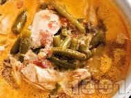 Супа от пилешко месо и зелен боб с течна сметана